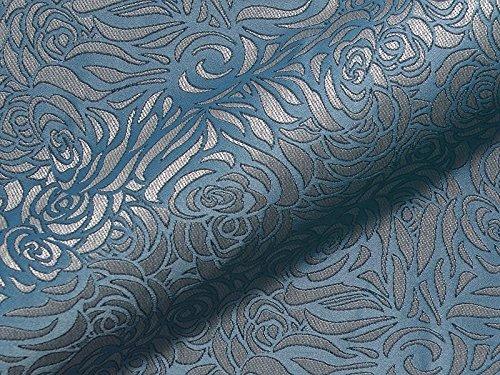 Möbelstoff CHELSEA FR Muster Ornamente Farbe blau als robuster Bezugsstoff, Polsterstoff blau gemustert zum Nähen und Beziehen, Polyester FR, schwer entflammbar