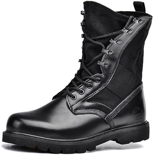 Bottes de Combat Noir Armée Bottes Véritable Chaussure Classique en Cuir pour Hommes Sports de Plein air Randonnée Lacées désert Bottes 35-46