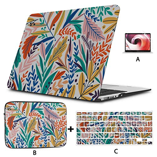 Mac Pro Laptop Case Tropical Leaves Laptop Cover Hard Shell Mac Air 11'/13' Pro 13'/15'/16' with Notebook Sleeve Bag for MacBook 2008-2020 Version