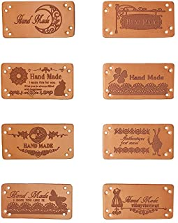 Jurxy 40PCS PU Leather Label Clothing Hand Made Embossed Tag with Holes Embellishment Knit DIY Accessories for Jeans Bags Shoes Hat – 2x4cm