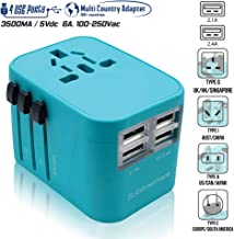 Power Plug Adapter (Turquoise) - International Travel - w/4 USB Ports Work for 150+ Countries - 220 Volt Adapter - Travel Adapter Type C Type A Type G Type I for UK Japan China EU Europe European …