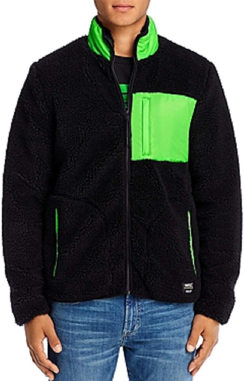 WeSC BLACK/NEON GREEN Mixed-Media Sherpa Slim Fit Fleece Jacket, US Large