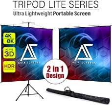 Akia Screens 57 inch 2 in 1 Portable Pull Down Projector Screen with Tripod Stand 4:3 16:9 8K 4K HD Black Wall Mount Projection Screen with Bag for Indoor Outdoor Movie Home Theater Office AK-T57SLITE