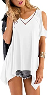 Beluring Womens Short Sleeve Cold Shoulder Tunic Tops Blouse Shirts