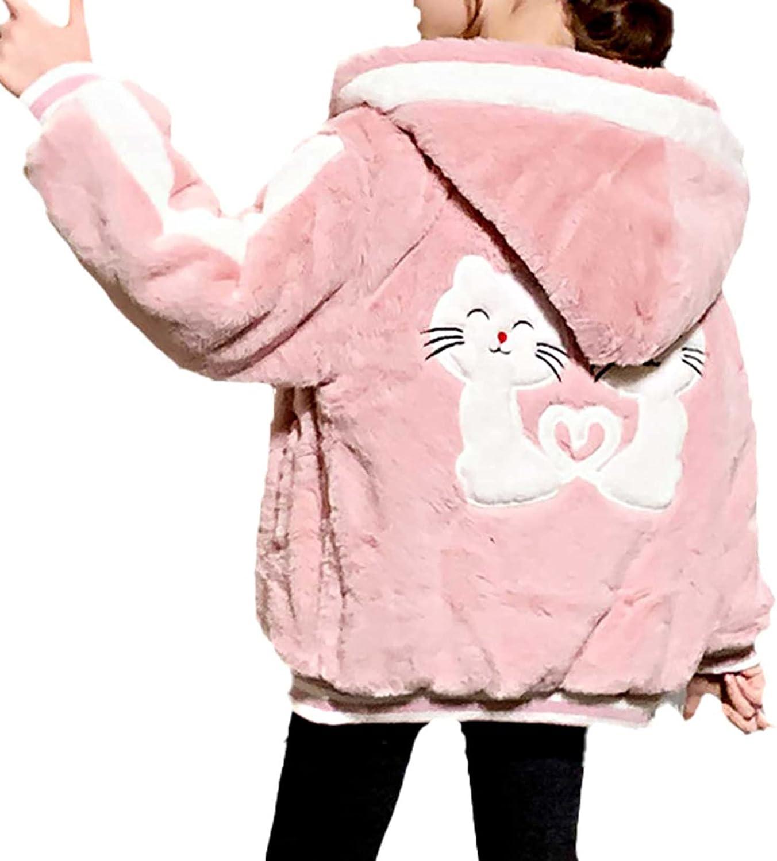 Freebily Kids Girls Polar Fleece Zipper Jacket Winter Warm Hoodie Long Sleeve Faux Fur Outerwear Coat