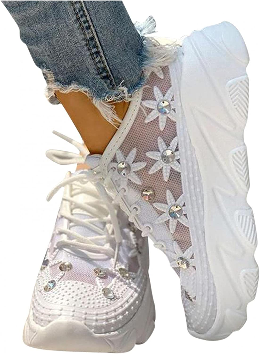 Hbeylia Platform Wedge Fashion Sneakers For Women Girls Rhinestones Flower Chunky Bottom Heels Walking Running Tennis Shoes Lightweight Breathable Mesh Lace Up Low Top Athletic Sport Shoes For Students