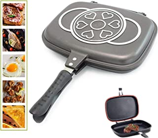 Double-sided Portable BBQ Grill Pan Nonstick Aluminum Alloy Double Omelette Square Pan Flip Pan Jumbo Grill Cookware Skillet Cast Grill Frittata Pan for Indoor Outdoor Camping Cooked Fish Chicken