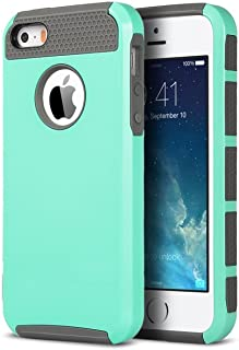 ULAK iPhone 5S Case, iPhone 5 Case, iPhone SE Case,Slim Fit Dual Layer Protection Case Shock Absorbing Hard Rugged Ultra Protective Back Rubber Cover with Impact Protection (Mint+Gray)