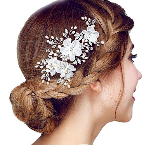 Miya® 1Stück MEGA Glamour Braut Kamm Steckkamm Haarkamm mit vier wunderschöne Blumen aus sanft Tüll Perle und Kristallen, Braut Schmuck Hochzeit Jugendweihe Haarschmuck, Form YY02