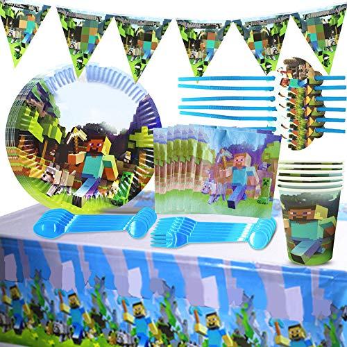 BESLIME Gaming Partyzubehör Set, Geburtstagsdeko Set,Einschließlich Banner, Tischdecke,Teller, Tassen, Servietten,Stroh Trinken, Gabeln und Löffel Party Supplies für Kinder