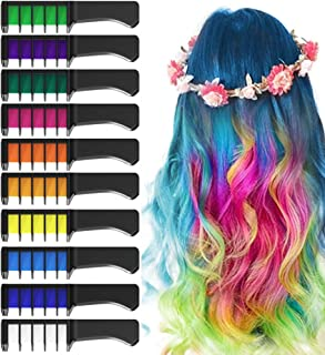 EZCO 10 Color Hair Chalk Comb, Temporary Washable Hair Color Dye Crayon Salon Set Safe for Makeup Birthday Party Gifts for Girls Kids Teen
