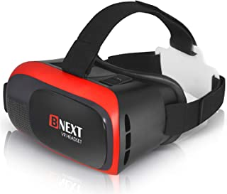 VR Headset Compatible with iPhone & Android Phone - Universal Virtual Reality Goggles - Play Your Best Mobile Games 360 Movies with Soft & Comfortable New 3D VR Glasses | Red | w/Eye Protection