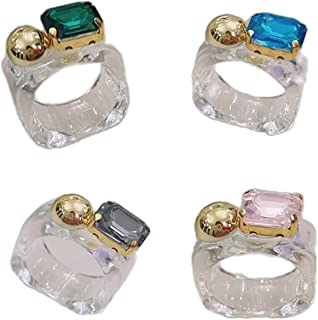 caiyao 4 Pcs Multi-Style Transparent Colorful Cubic Zircon Crystal Inlaid Chunky Thick Acrylic Resin Finger Set Ring Stack...