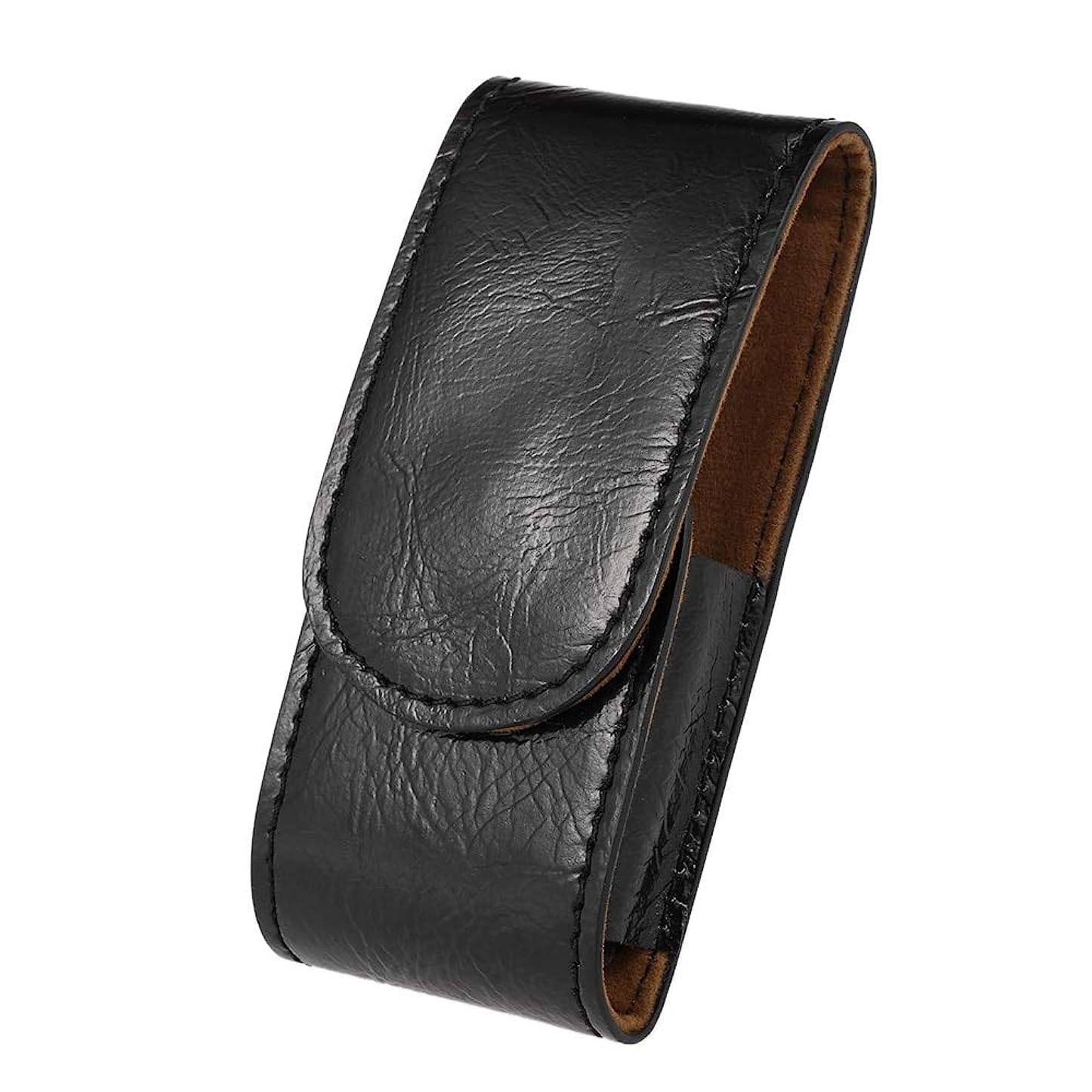 いじめっ子環境保護主義者落ち着かないMen PU Leather Razor Pouch Shave Beard Shaver Handbag Pouch Safety Razor Case Storage Bag Double Edge Razor Holder