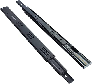 VADANIA 22-Inch Ball Bearing Drawer Slides Soft Close, 3 Folds Full Extension, Side-Mount, Black, Heavy Duty 100lb Load Capacity, 1-Pair (2 Pieces)