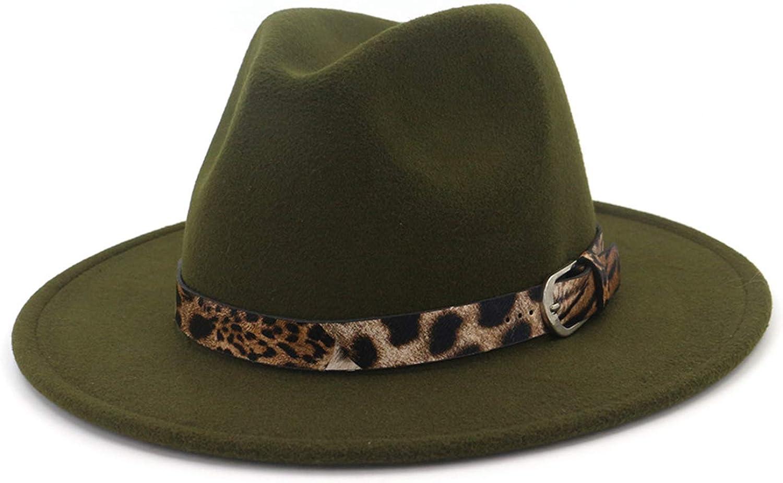 Cowgirl Hat, Fedora Hats for Women,Metal Ring Simple Belt Leopard Print All-Match Woolen Jazz Hat.