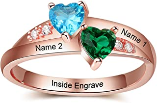 Lam Hub Fong Personalized Promise Rings for Her 2 Simulate Birthstones Mothers Rings Couples...