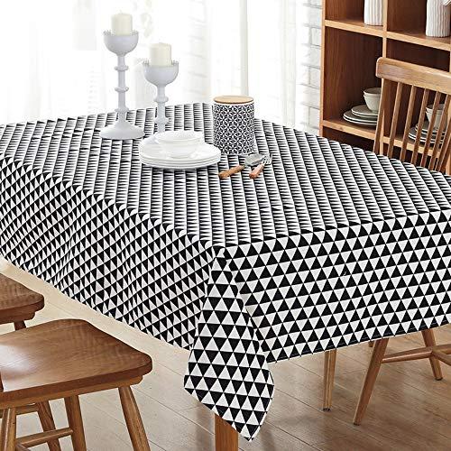 Nappe en lin coton Nappe en lin coton Nappe Triangle ménage - noir et blanc gris