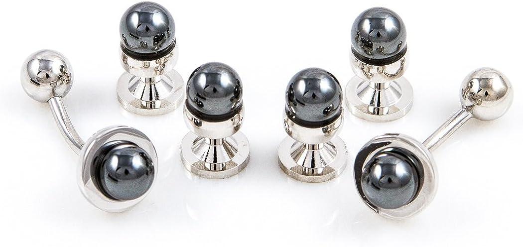 MRCUFF Simulated Black Pearl Tuxedo Cufflinks & Studs Set in a Presentation Gift Box & Polishing Cloth