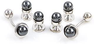 Simulated Black Pearl Tuxedo Cufflinks & Studs Set in a Presentation Gift Box & Polishing Cloth