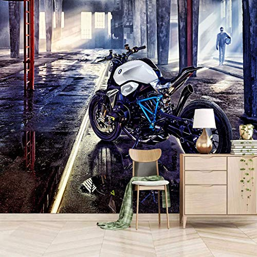 TDYNJJ Wandbild Vlies Fototapete - Schwarz Motorrad Lagerhaus Junge - Fototapete Kinderzimmer - Vliestapete Kinder - Vlies-Tapete Kinderzimmer Mädchen - Geschenk Dekoration