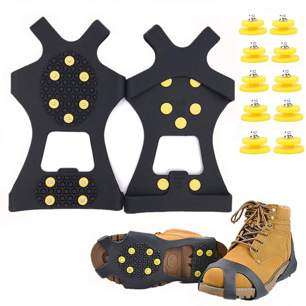 Fiersh Snow Grippers Ice Cleats - Snow Grips Crampons Anti-Slip Traction Cleats Ice Grippers for Shoes and Boots - 10 Steel Studs Slip-on Stretch Footwear for Women Men Kids (Extra 10 Studs)