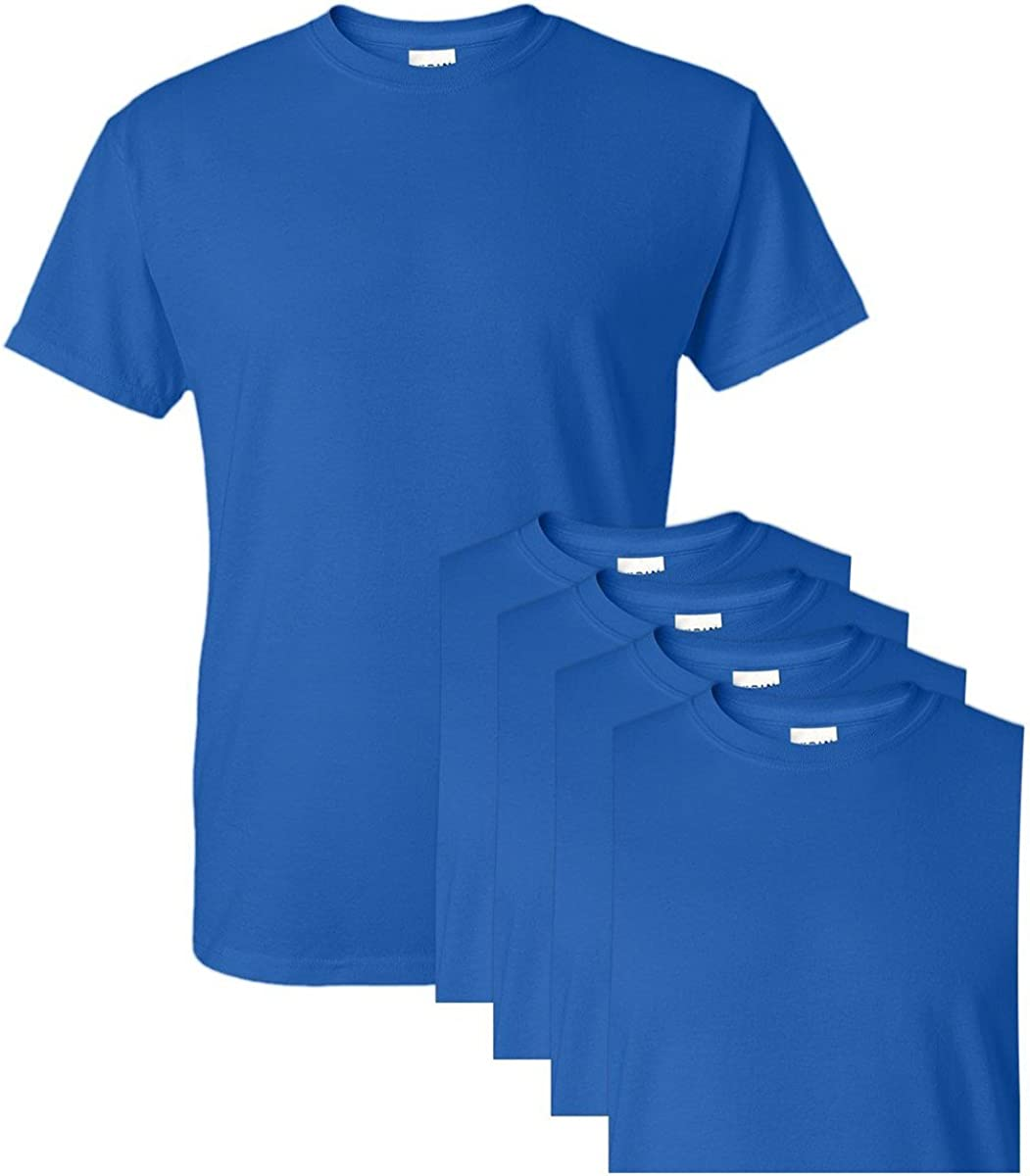 Gildan G8000 50% Cotton 50% Polyester DryBlend T-Shirt Royal Medium 5 Pack