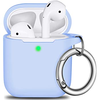AirPods Case Cover with Keychain, Full Protective Silicone AirPods Accessories Skin Cover for Men Women Girl boy Teens with Apple AirPods Wireless Charging Case,Front LED Visible-Sky Blue