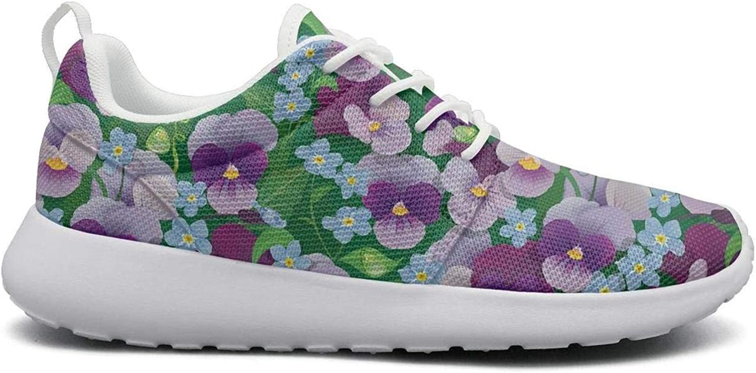 Opr7 Purple Pansies Flowers and Herbs Running shoes Lightweight for Women Sneaker Rubber Sole Shock Absorbing