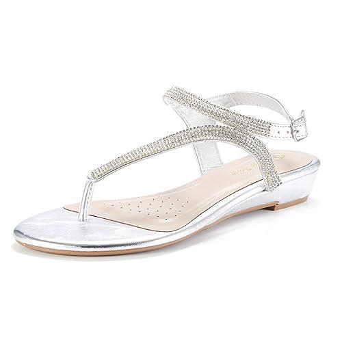 5dc013227f9a5d DREAM PAIRS Women s Estelle W Fashion Rhinestones Low Wedge Sandals