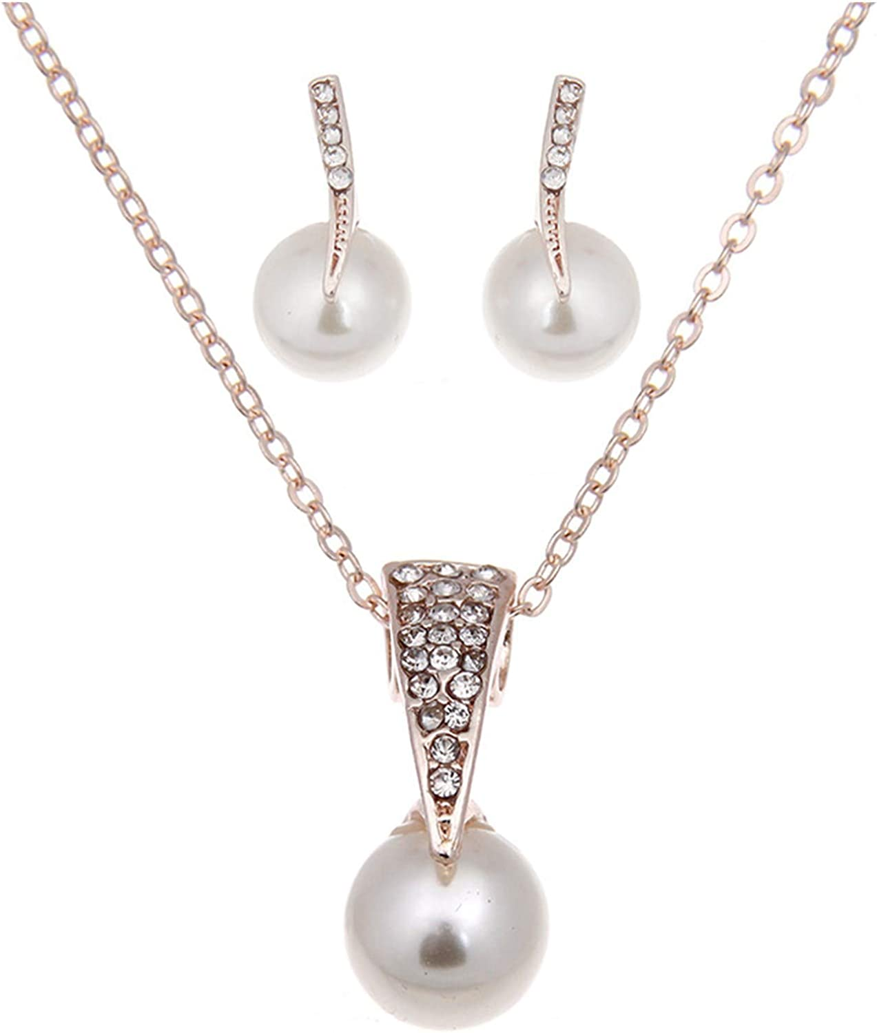 OMGYST Womens Pearl Necklace Earrings Jewelry Set for Bridesmaids & Brides,Birthday/Anniversary Jewelry Gifts for Women Girls