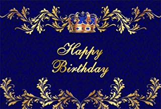 AOFOTO 7x5ft Happy Birthday Backdrop King Queen Crown Royal Blue Patterns Abstract Photography Background Baby Kids 16th 18th 30th 40th 45th 50th Bday Party Celebration Photo Booth Prop