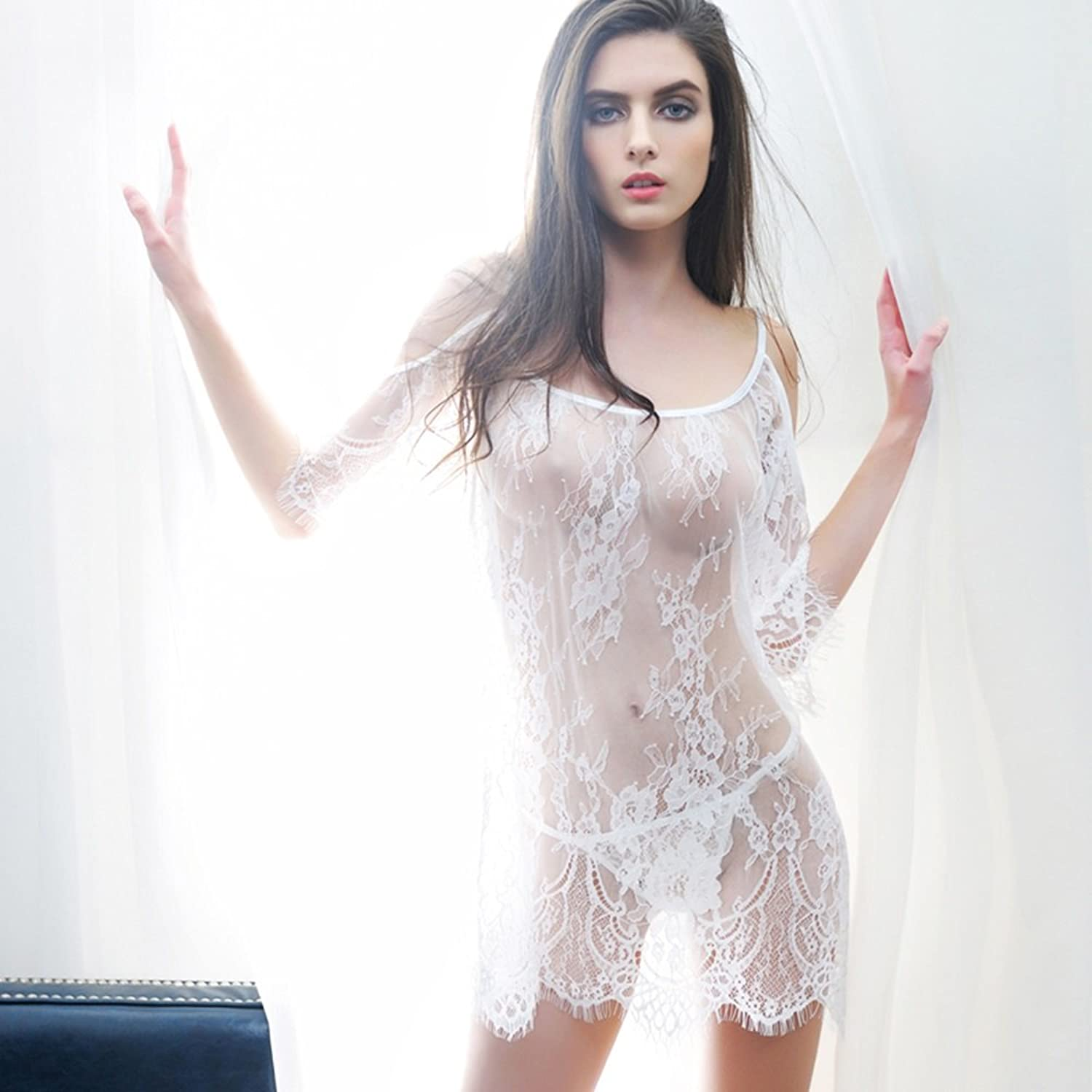 Lingerie Women Transparent Lace Tulle Strap Sexy Pajamas