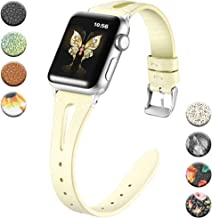 Haveda Leather Bands Compatible for Apple Watch 40mm 38mm 44mm 42mm, iWatch Series 5, Series4, Series 3/2/1, Women Printed Apple Watch 38mm Band Slim Feminine Breathable Floral Wristband