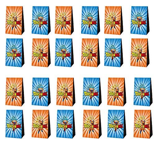REYOK Dragon Ball Geschenktüten, 24pcs Papier Candy Tüten Partytüten Set für Mitgebsel, Geschenke, Kindergeburtstage und Hochzeit Geschenk Papiertasche, Deko Taschen