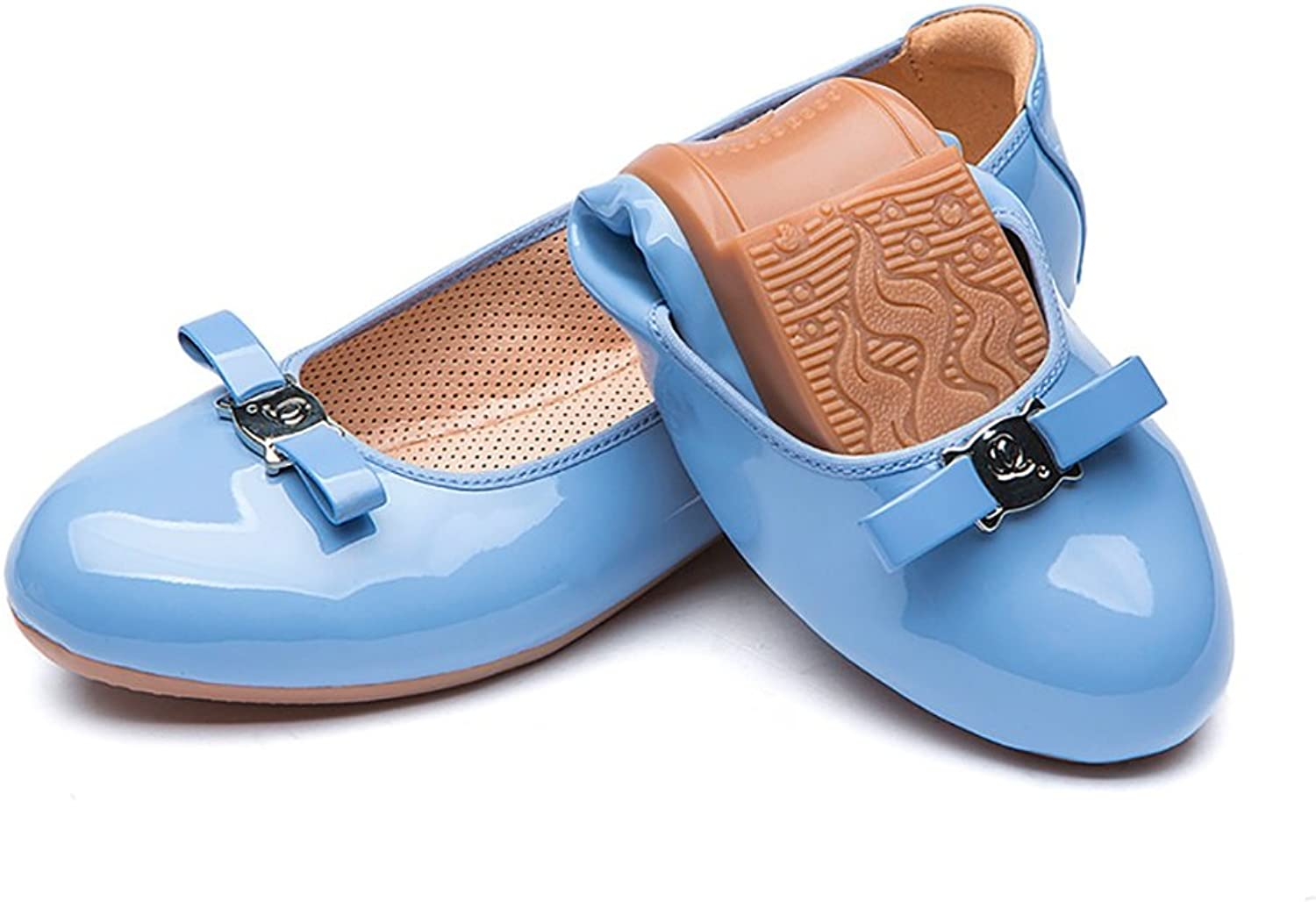 Elegant Roll Up shoes Can Foldable Womens Fashion Flat Casual shoes Work shoes ( color   bluee , Size   36 )