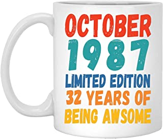 Happy 32nd Birthday Gifts for Men Women Turning 32 Years Old Born in October 1987 Coffee Mug White 11oz