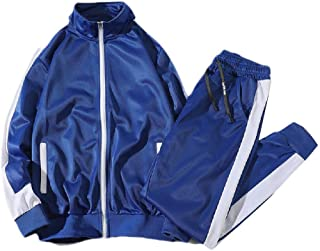 Mogogo Men's Relaxed Athletic-Fit Full-Zip 2 Piece Set Contrast Tracksuit