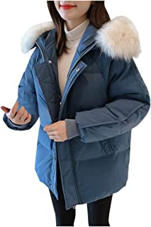 KLFSJD Womens Padded Winter Quilted Fur Parka Jacket Puffer Fur Collar Hooded Coat Black,S Travel Suitable for Outdoor
