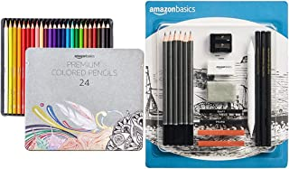 Sponsored Ad - Amazon Basics Soft Core Colored Pencils - 24-Count Set & Sketch and Drawing Art Pencil Kit - 17-Piece Set