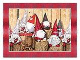 TAPPETIK Set 4 tovagliette Americane Natalizie 33x45 cm Diverse Fantasie Ottima Idea Regalo Natale (GNOMI e Tronchi)