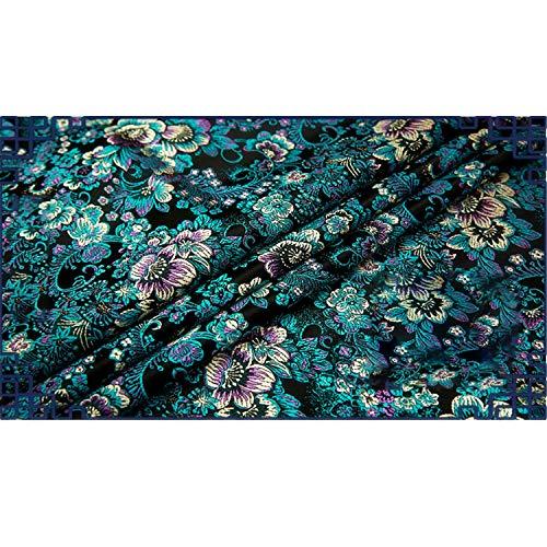 SQINAA Brocade Silky Satin Tela Simple Elegante Flor Suave Cmodo Corte Y No Arrugado para Bodas Nupciales 75X50cm,Negro