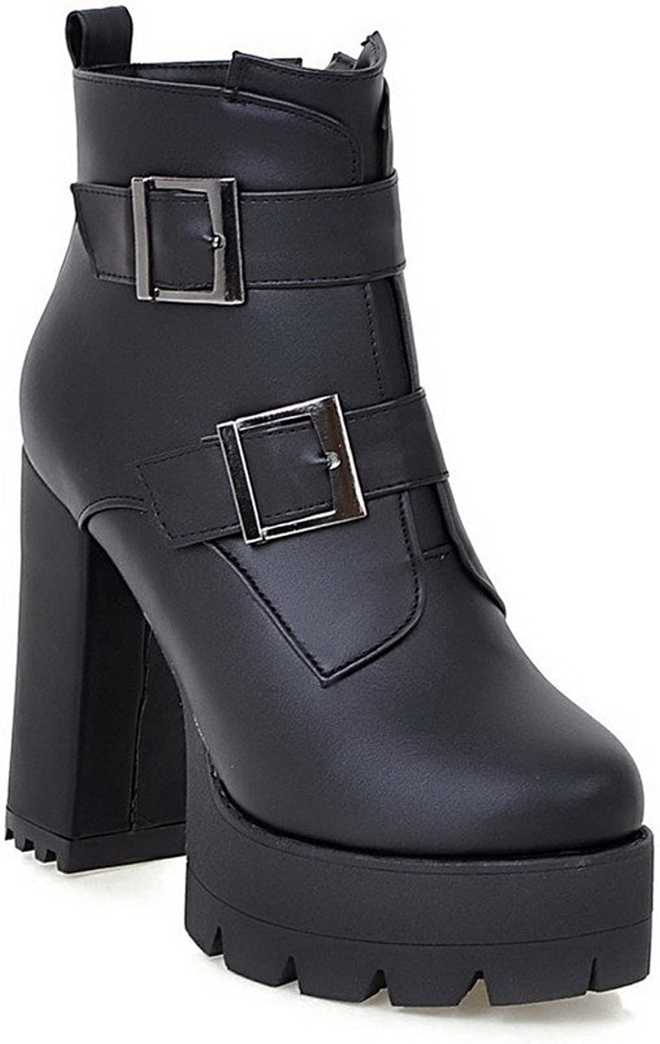 AmoonyFashion Women's High-Heels Soft Leather Low-top Solid Zipper Boots