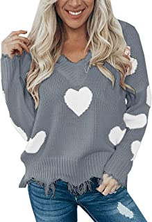 Women's Heart Pattern Ripped Sweater V Neck Distressed Knit Pullover Jumper Top
