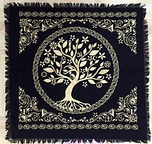 Tarot Spread Altar Cloth Small 18' Square Wall Hanging Wiccan Witchcraft Wica Wall Hanging (Tree of Life Gold Silver) by Indian Consigners
