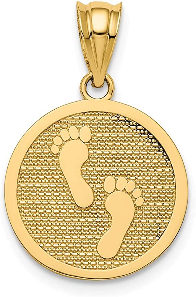 14k Yellow Gold Reversible Have Latest item Max 58% OFF Charm Pendant N footprints Faith
