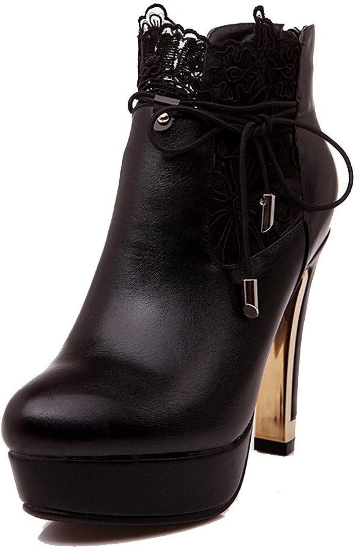 Laolaooo shoes Women's Round Closed Toe Zipper Blend Materials Solid High Heels Boots