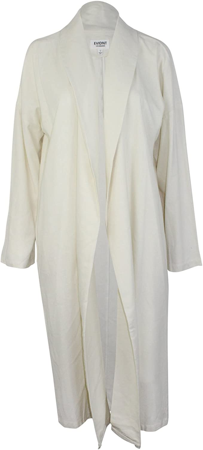 Evidnt Los Angeles Womens Maxi Long Sleeve Duster Ivory Medium, Large