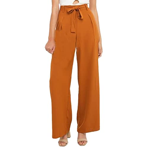 42eb7d066e1ba HaoDuoYi Womens Wide Leg Tie High Waist Long Palazzo Pants