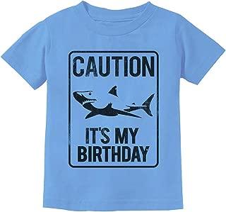 TeeStars - Shark Sign Caution It's My Birthday Gift Idea Toddler Kids T-Shirt